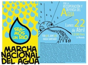 Chile marcha agua cartel Aguas depuradas: cada gota cuenta