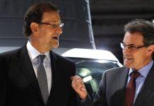 Mariano Rajoy y Artur Mas en el Salón del Automóvil de Barcelona