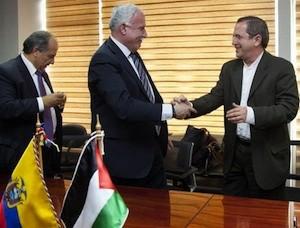 Los cancilleres de Ecuador y Palestina, Ricardo Patiño y Riad al Malki, se reunieron el sábado 25 de mayo pasado en Quito.