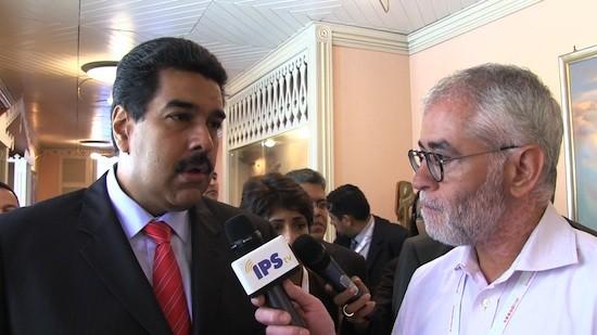 Presidente Nicolás Maduro entrevistado por IPS TV. Crédito: Diego Cutilli/IPS