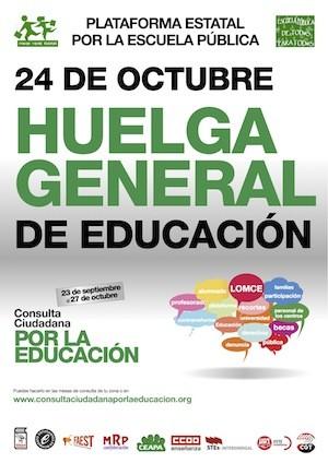 Cartel Huelga Educacion 24OCT España, 24 octubre 2013: huelga general en la Educación