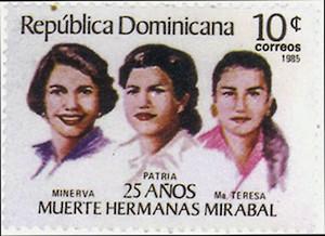 Hermanas Mirabal. Sello de Correos de la República Dominicana conmemorativo, 1985