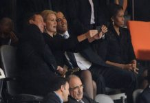 Obama, Cameron and Thorning-Schmidt's 'selfie'. Photo by Roberto Schmidt/AFP