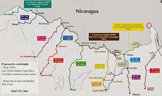 """Mapa de la """"trocha fronteriza"""" y rutas de acceso según documento oficial presentado en Casa Presidencial (Costa Rica). Arriba al extremo derecho, Isla Portillos (circulo en rojo realizado por el autor ya que no se distingue mayormente en razón de la escala usada)"""