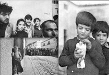 Fotos de 'caza' (chicos en la cárcel), 'pesca' ('Niño de Lebrija') y 'agricultura' (niño con paloma herida). (C) Manuel López