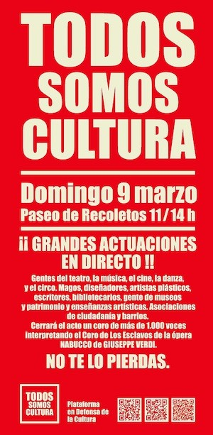 cartel todos somos cultura Madrid se moviliza en defensa de la cultura