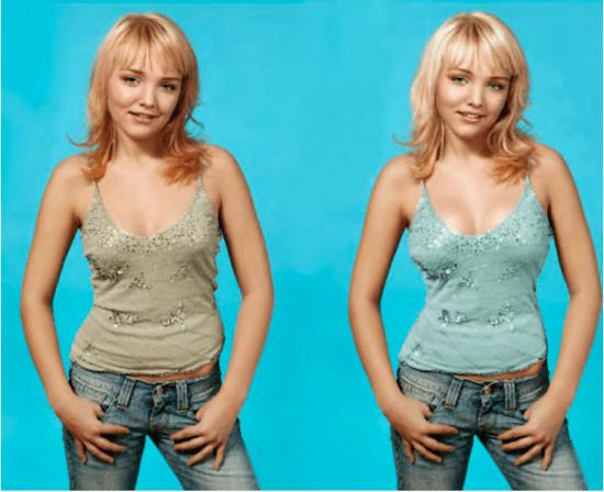 """""""Girlpower"""". Imagen de la modelo de portada, antes y después del retoque digital."""