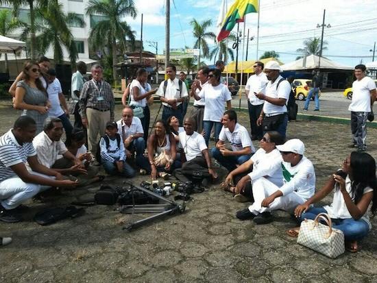 Plantón de periodistas en Buenaventura, Colombia