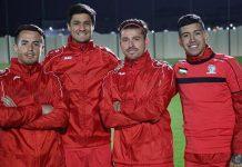 Los cuatro jugadores palestinos de origen chileno. De izquierda a derecha, Alexis Norambuena, Yashir Islame Pinto, Pablo Tamburrini Bravo y Jonathan Cantillana