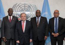 ONU/Mark Garten: el secretario general, António Guterres, con la delegación de jefes de Gobierno de CARICOM
