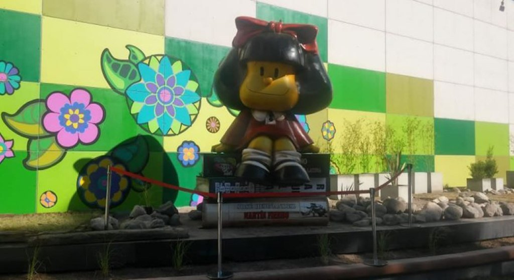 Nueva escultura de Mafalda, en San Martín, provincia de Mendoza.