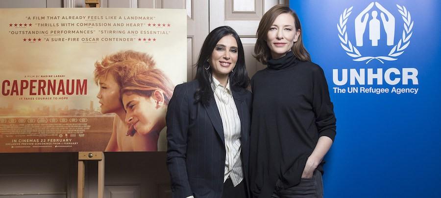 La actriz y Embajadora de Buena Voluntad de la Agencia de las Naciones Unidas para los Refugiados, Cate Blanchett (derecha), con la directora de Capernaum Nadine Labaki durante la proyección del filme en Londres.