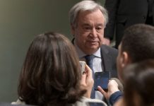 ONU/Mark Garten El Secretario General António Guterres se dirige a la prensa en la sede de las Naciones Unidas en Nueva York