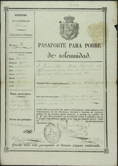 Pasaporte de pobre de solemnidad en A Coruña