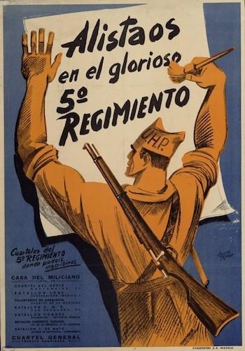 Aníbal Tejada Cassió. 1936. «Alistaos en el glorioso 5.º Regimiento». MECD, CDMH, PS-CARTELES