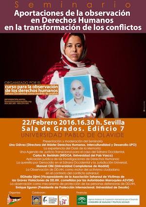 Cartel del Seminario que incluía la intervención de Elghalia Djimi.