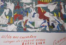 Postal de Conrado Granado en homenaje a los periodistas asesinados en Charlie Hebdo