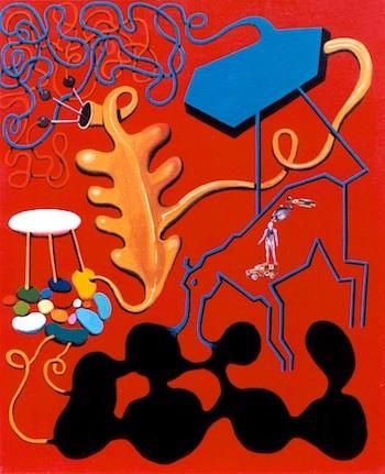 Óscar Seco: Utopía-2, 1998. Obra que se destaca en la cubierta de mi libro ¿Qué eres, España?, Sílex ediciones, 2017.