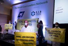 15/10/2018. Barcelona, España. Activistas de Greenpeace interrumpen la conferencia internacional del carbón (World Coal Leaders Network 2018) en Barcelona ©Greenpeace Pedro Armestre