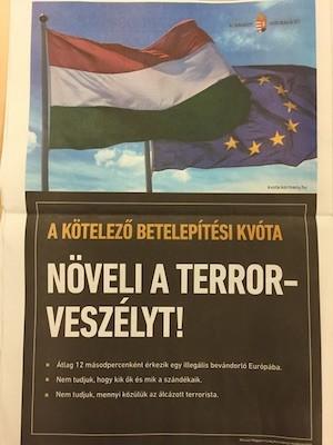 """""""La cuota de relocalización obligatoria ¡AUMENTA EL RIESGO DE TERRORISMO! De media, cada 12 segundos llega un inmigrante ilegal a Europa. No sabemos quiénes son ni qué intenciones tienen. No sabemos cuántos son terroristas camuflados""""."""