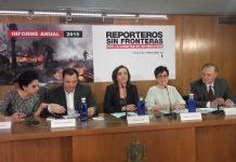 Mesa del acto de presentación del informe anual de Reporteos Sin Fronteras 2016
