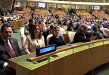 María FernandaEspinoza al frente de la Delegación de Ecuador ante la ONU