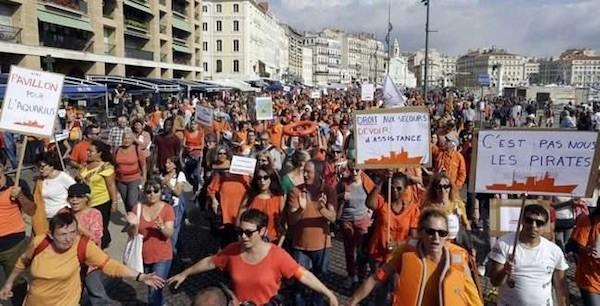 Manifestación en Marsella en apoyo al Aquarius, 6 de octubre de 2018