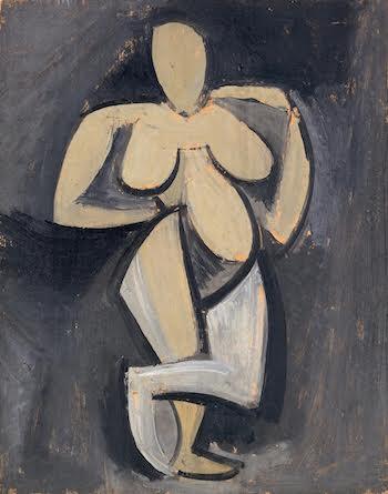 Mujer de pie con una mano en la cadera 1908. Fundación Almine y Bernard Ruiz-Picasso para el Arte.