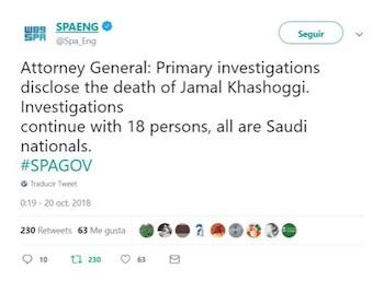Tuit fiscal saudi Khashoggi muerto