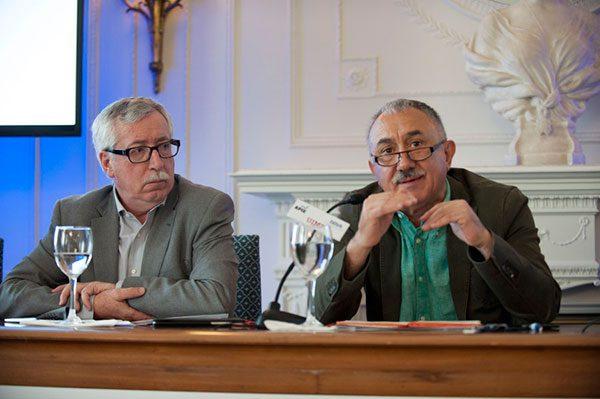 Ignacio Fernández Toxo (CCOO) y Josep María Álvarez (UGT)