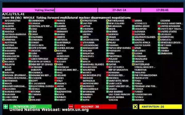 Votación para aprobar el Tratado de Prohibición de Armas Nucleares, Naciones Unidas 7 de julio de 2017