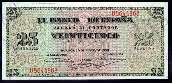 billte 25 pesetas emitido por Franco