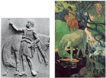 """Detalle del friso del Partenón de Atenas (440 a.C) y """"El caballo blanco"""" de Gauguin (1898)"""