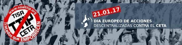 Cartel de la movilización contra el Ceta-TTIP del 21 de enero de 2017