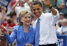 Hillary Clinton con Barak Obama en un acto electoral