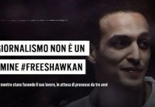 Cartel de la campaña en Italia por la liberación de Shawkan.