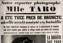 Recorte de prensa con información sobre la muerte de Gerda Taro en Brunete