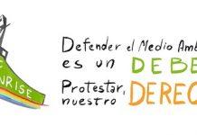 Cartel de Greenpeace: defender el medio ambiente es un deber, protestar, nuestro derecho