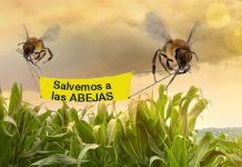 Pancarta de Greenpeace en defensa de las abejas