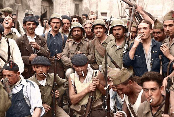 Soldados y milicianos republicanos en la guerra civil en España