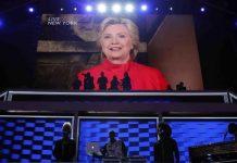 Hillary Clinton interviene por videoconferencia tras ser nominada como candidata demócrata a la Casa Blanca