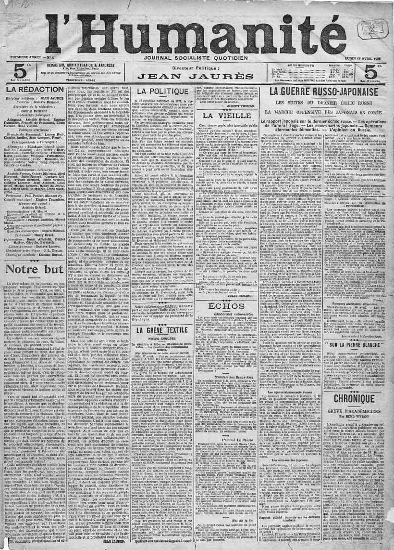 Primera portada de L'Humanité el 18 de abril de 1904.