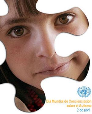 Poster de Naciones Unidas sobre el Día Mundial de Concienciación sobre el Autismo, 2 de abril de 2016. Foto de CARE/David Rochkind. Diseño de Kim Conger