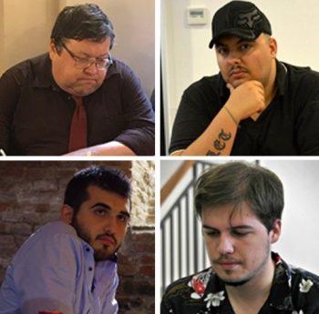 Los implicados en el Scaccopoli. De arriba abajo y de izquierda a derecha, Igor Naumkin, Angelo Damia, Andrea Stella y Pier Luigi Basso.