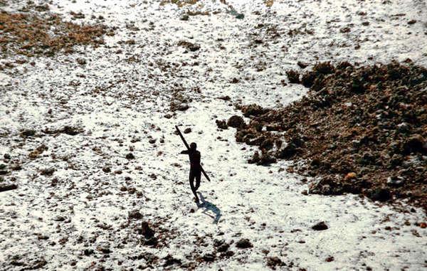 indígena sentinelese dispara una flecha contra un helicóptero