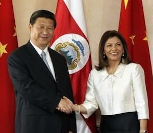 Laura Chinchilla recibe en Costa Rica al presidente Xi Jinping