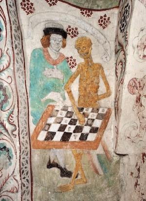 Pintura 'La muerte jugando al ajedrez' en la iglesia de Taby, Estocolmo.