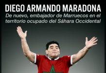 Cartel crítico con la presencia de Maradona en El Aaiún realizado por Josetxo Ezcurra.