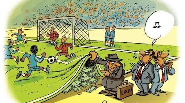 Viñeta sobre partidos de fútbol amañados publicada en ouest-france.fr
