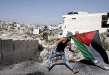 """Un joven palestino lanza piedras sobre el """"muro de la vergüenza"""" en Israel"""